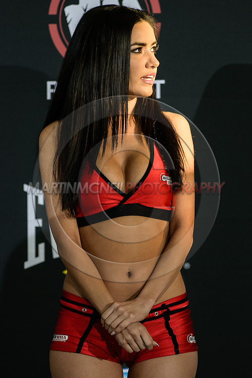 "LONG BEACH, CALIFORNIA, NOVEMBER 1, 2013: Mercedes Terrell during the official weigh-in for ""Bellator MMA: Chandler vs. Alvarez II"" inside the Long Beach Convention Center & Arena, California,  (© Martin McNeil)"