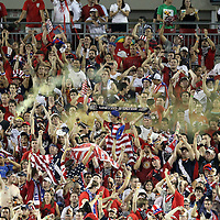 Team USA supporters cheer during a  CONCACAF Gold Cup soccer match between the United States and Panama on Saturday, June 11, 2011, at Raymond James Stadium in Tampa, Fla. (AP Photo/Alex Menendez)