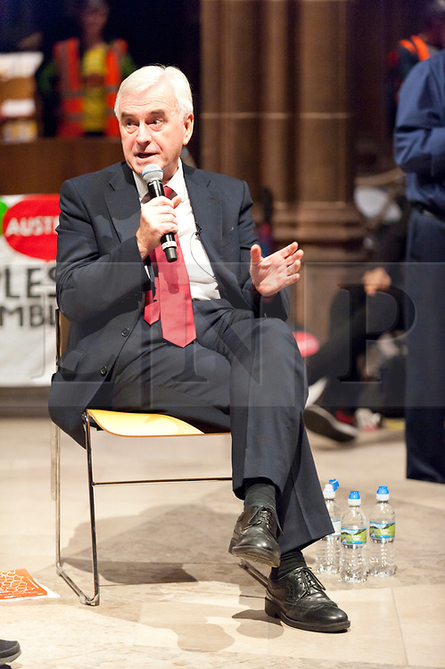 02/10/2017. Manchester, UK. John McDonnell, Shadow Chancellor of the Exchequer, speaks to a 900 plus audience at Manchester Cathedral on the second day of  protest the Tory Party Conference.  Pro-peace, anti-austerity, anti-war protests, including rallies, public meetings, comedy, music, & culture, take place during the four days of the Conservative Party Conference in Manchester, UK. 1st - 4th Oct 2017. The protest festival has been organised by The People's Assembly. Photo credit: Graham M. Lawrence/LNP