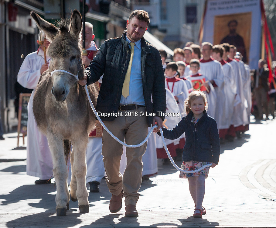 """Lichfield, Staffordshire, UK. 25th March 2018.  A fine spring morning greeted worshipers, members of the clergy and a donkey for the annual Palm Sunday procession through the medieval streets of Lichfield. The """"Triumphal Entry"""" procession (when Jesus entered Jerusalem cheered on by a crowd, riding on a donkey) began at Speakers' Corner in the Staffordshire city and ended at the west door of the famous Cathedral. Pictured: A young girls helps guide Sammy the donkey in the procession  through the streets of Lichfield. // Lee Thomas, Tel. 07784142973. Email: leepthomas@gmail.com  www.leept.co.uk (0000635435)"""