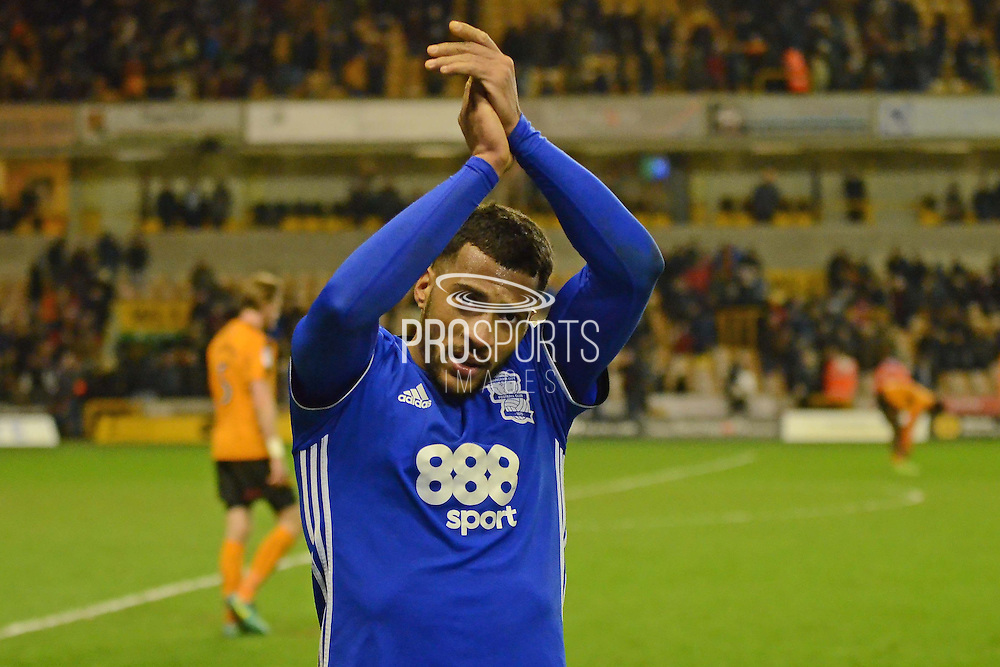 Birmingham City midfielder David Davis (26) applauds the fans at the end of the game 1-2 during the EFL Sky Bet Championship match between Wolverhampton Wanderers and Birmingham City at Molineux, Wolverhampton, England on 24 February 2017. Photo by Alan Franklin.
