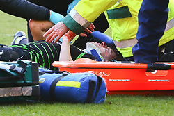 Tom Anderson of Doncaster Rovers is lifted onto a stretcher after colliding with Marko Marosi of Doncaster Rovers - Mandatory by-line: Ryan Crockett/JMP - 24/02/2018 - FOOTBALL - Aesseal New York Stadium - Rotherham, England - Rotherham United v Doncaster Rovers - Sky Bet League One