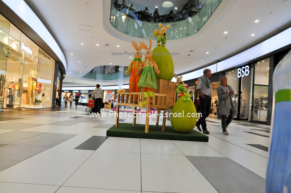 A shopping mall with Easter decorations. Photographed in Paphos, Cyprus