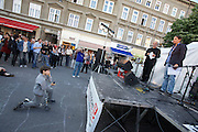 SOHO in Ottakring. Opening ceremony at the Piazza on Yppenplatz. Artist Ula Schneider (r.), initiator and mastermind of SOHO, with district development curator Kurt Smetana..Now in its 9th year, SOHO in Ottakring is an established art festival in public spaces of Vienna's 16th city district. In cooperation with the local community, up to 200 artists take part in the annual festival at the end of May/beginning of June. The festival is a huge success and has helped develop the formerly neglected and decaying district into a sprawling, 'hip' urban area. More info in German at: www.sohoinottakring.at