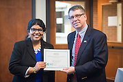 Enakshi Roy won third place in the 3 Minute Thesis Competition at the Stocker Center on February 15, 2017.