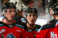 KELOWNA, BC - OCTOBER 12: Liam Kindree #26 of the Kelowna Rockets stands at the bench during a time out against the Kamloops Blazers at Prospera Place on October 12, 2019 in Kelowna, Canada. (Photo by Marissa Baecker/Shoot the Breeze)