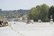 Henley, GREAT BRITAIN,  General View down the course, with a race in progress,  2008 Henley Royal Regatta, on  Thursday, 03/07/2008,  Henley on Thames. ENGLAND. [Mandatory Credit:  Peter SPURRIER / Intersport Images] Rowing Courses, Henley Reach, Henley, ENGLAND . HRR