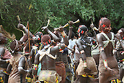 Africa, Ethiopia, Omo River Valley Hamer Tribe Tribal Dance Women's back are scarred from ritual flogging