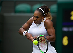 LONDON, ENGLAND - Saturday, July 6, 2019: Serena Williams (USA) during the Ladies' Singles third round match on Day Six of The Championships Wimbledon 2019 at the All England Lawn Tennis and Croquet Club. Williams won 6-3, 6-4. (Pic by Kirsten Holst/Propaganda)