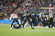 Jacksonville Jaguars Wide Receiver Chris Conley (18) out of bounds call during the International Series match between Jacksonville Jaguars and Houston Texans at Wembley Stadium, London, England on 3 November 2019.