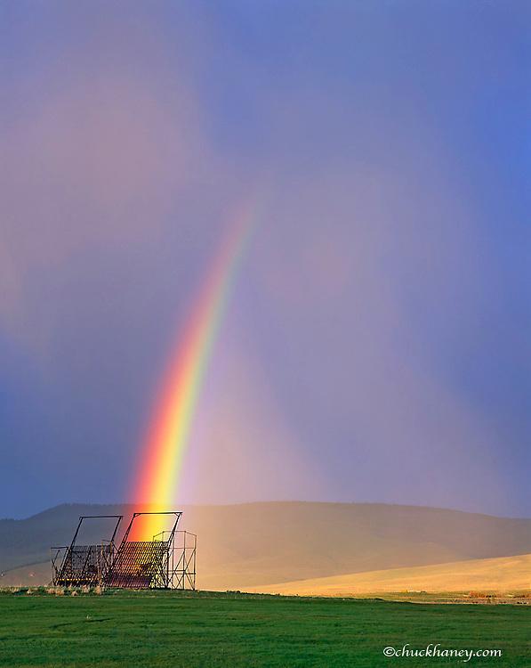 Rainbow over Beaverslide Haystacker in Jackson Montana