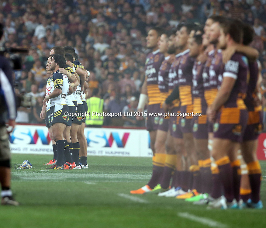 Johnathan Thurston lined out against the Broncos<br /> Broncos v Cowboys NRL Grand Final rugby league match at ANZ Stadium, Homebush Australia. Sunday 4 October 2015. Photo: Paul Seiser/Photosport.nz
