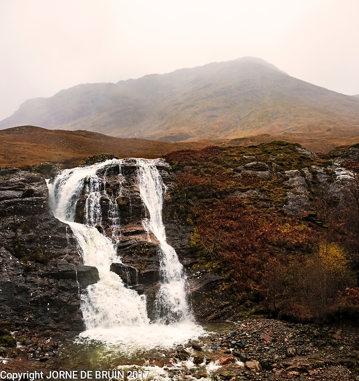 The waterfalls at the 'Meeting of Three Waters' in Glencoe, Scotland.