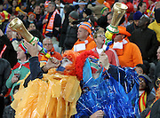 JOHANNESBURG, SOUTH AFRICA- Sunday 11 July 2010, Dutch fans blow their vuvuzela's during the final between Spain The Netherlands (Holland) held at Soccer City in Soweto during the 2010 FIFA Soccer World Cup..Photo by Roger Sedres/Image SA
