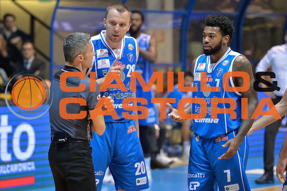 Dusko Savanovic,Trevor Lacey<br /> Red October Cantu' vs Banco di Sardegna Sassari<br /> Basket Serie A 2016/2017<br /> Milano 23/10/2016<br /> Foto Ciamillo-Castoria