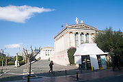 Exterior of the Academy of Athens, part of the architectural trilogy designed by Danish architect Theopil Hansen, Athens, Greece