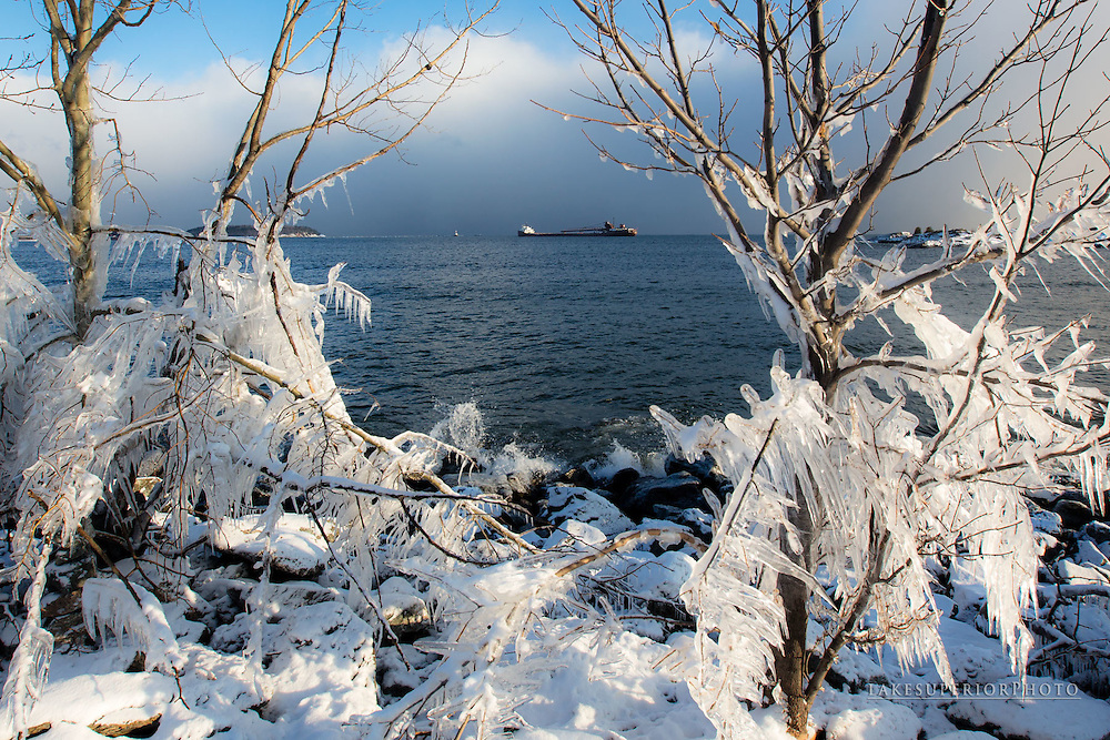 Great Lakes, Freighter, Herbert C. Jackson framed in ice, Lake Superior, Marquette, Michigan