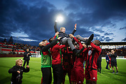 &Ouml;STERSUND, SWEDEN - AUGUST 24: Graham Potter, head coach of Oestersunds FK celebrates after the victory during the UEFA Europa League Qualifying Play-Offs round second leg match between &Ouml;stersunds FK and PAOK Saloniki at J&auml;mtkraft Arena on August 24, 2017 in &Ouml;stersund, Sweden. Foto: Nils Petter Nilsson/Ombrello<br /> ***BETALBILD***