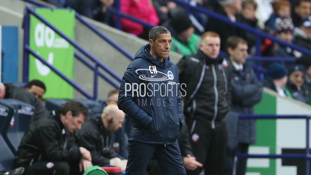 Brighton manager Chris Hughton during before the Sky Bet Championship match between Bolton Wanderers and Brighton and Hove Albion at the Reebok Stadium, Bolton, England on 28 February 2015.