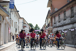 The peloton received special escorts before the start of the Giro Rosa 2016 - Stage 1. A 104 km road race from Gaiarine to San Fior, Italy on July 2nd 2016.