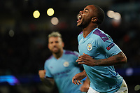 Manchester City's Raheem Sterling celebrates scoring his sides first goal <br /> <br /> Football - 2019 / 2020 UEFA Champions League - Champs Lge Grp C: Man City-D Zagreb<br /> <br /> , at Etihad Stadium<br /> <br /> Colorsport / Terry Donnelly