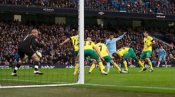 03.12.2011, City of Manchester Stadium, Manchester, ENG, PL, Manchester City vs Norwich City, 14. Spieltag, im Bild Manchester City's Sergio Aguero scores the first goal against Norwich City's // during the football match of english Premier League, 14th round between Manchester City vs Norwich City at City of Manchester stadium, Manchester, ENG on 2011/12/03. EXPA Pictures © 2011, PhotoCredit: EXPA/ Sportida/ David Rawcliff..***** ATTENTION - OUT OF ENG, GBR, UK *****