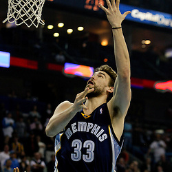 Jan 20, 2010; New Orleans, LA, USA; Memphis Grizzlies center Marc Gasol (33) shoots against the New Orleans Hornets during the first half at the New Orleans Arena. Mandatory Credit: Derick E. Hingle-US PRESSWIRE