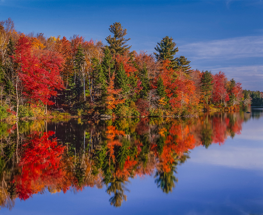Plainfield Pond & fall reflections, colorful shoreline, Berkshire Hills, Plainfield, MA