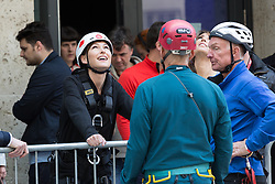 "© Licensed to London News Pictures. 10/06/2015. London, UK. Emma Willis prepares to take part in a ""leap of faith"" stunt at the new BBC Broadcasting House. Photo credit : Vickie Flores/LNP"