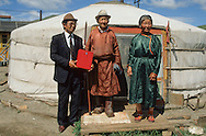 Mongolia. Election day., For persons unable to move there is an ambulant ballotbox. The person in charge to collect the voices goes to the different villages ... on horsback, of course.