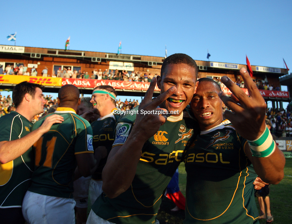 GEORGE, South Africa 6 December. Ryno Benjamin and Renfred Dazel say two after winning the George IRB Sevens World Series 'X' Cup Final match between South Africa and New Zealand held on the final day of the George Sevens at Outeniqua Park in George, Western Cape<br /> <br /> Photo By:  Barry Aldworth/ Sportzpics