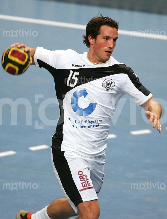 Bremen Handball Statoil World Cup 2006 Deutschland - Serbien Torsten JANSEN (GER) beim Wurf, Einzelaktion am Ball.
