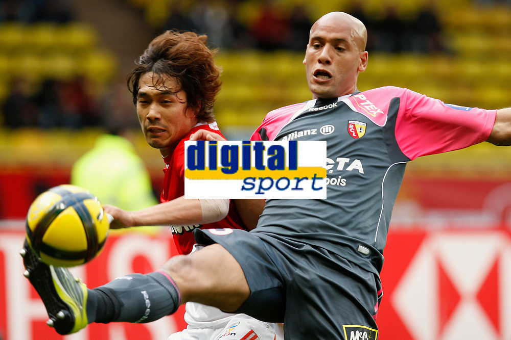 FOOTBALL - FRENCH CHAMPIONSHIP 2010/2011 - L1 - AS MONACO v RC LENS - 15/05/2011 - PHOTO PHILIPPE LAURENSON / DPPI - CHU-YOUNG PARK (ASM) / ALAEDDINE YAHIA (LEN)