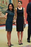 Queen Letizia of Spain attends a reception with Peruvian President Ollanta Humala Tasso and wife Nadine Heredia Alarcon at Palacio de El Pardo on July 8, 2015 in Madrid