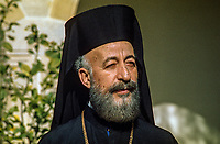Archbishop Makarios, born 13 August 1913 -  died 3 August 1977, was born Mihail Christodoulou Mouskos, elected Archbishop of Cyprus 18 September 1950. He was elected the first president of Cyprus serving from 16 August 1960  until 15 July 1974. This photo was taken in February 1971. 197102000099AM3..Copyright Image from Victor Patterson, 54 Dorchester Park, Belfast, UK, BT9 6RJ..Tel: +44 28 9066 1296.Mob: +44 7802 353836.Voicemail +44 20 8816 7153.Skype: victorpattersonbelfast.Email: victorpatterson@mac.com.Email: victorpatterson@ireland.com (back-up)..IMPORTANT: If you wish to use this image or any other of my images please go to www.victorpatterson.com and click on the Terms & Conditions. Then contact me by email or phone with the reference number(s) of the image(s) concerned.