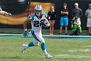 Christian McCraffrey(22) sizes up his blocks in the New Orleans Saints 34 to 13 victory over the Carolina Panthers.