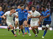 Twickenham, Great Britain, left Yoann HUGET, hands the ball to Noa NAKAITACI, during the Six Nations Rugby England vs France, played at the RFU Stadium, Twickenham, ENGLAND. <br /> <br /> Saturday   21/03/2015<br /> <br /> [Mandatory Credit; Peter Spurrier/Intersport-images]