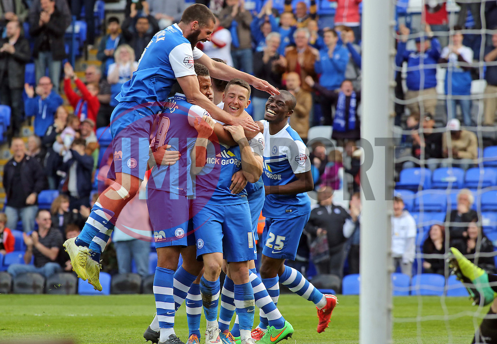 Peterborough United's Connor Washington celebrates scoring his second goal of the game - Photo mandatory by-line: Joe Dent/JMP - Mobile: 07966 386802 - 25/04/2015 - SPORT - Football - Peterborough - ABAX Stadium - Peterborough United v Crawley Town - Sky Bet League One