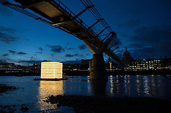 © Licensed to London News Pictures. 31/08/2016. London, UK. 'Floating Dreams' a major, illuminated, floating installation by Korean artist Ik Joong Kang is unveiled on the River Thames as part of Totally Thames Festival 1-30 Sept 2016. Photo credit: Peter Macdiarmid/LNP