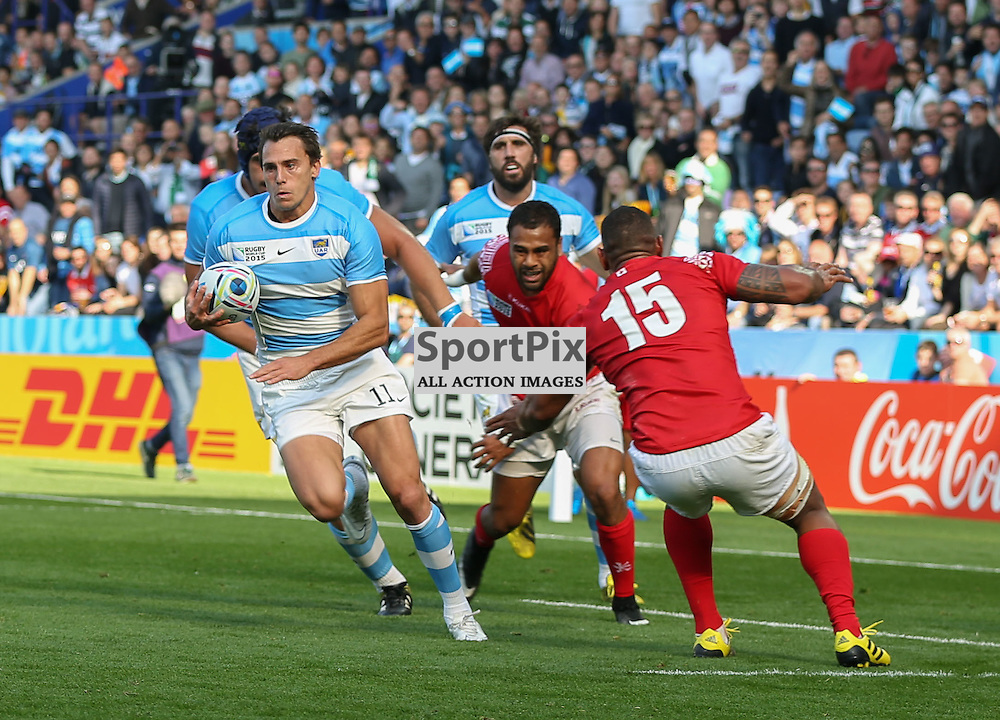 Juan Imhoff cuts inside during the Rugby World Cup Argentina v Tonga, Sunday 04 October 2015, Leicester City Stadium, Leicester, England Stadium (Photo by Mike Poole - SportPix)