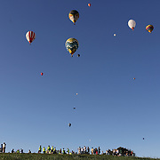 Hot Air balloons in the skies at Hideaway Hills Family Campground in rural Michigan near Battle Creek during competition in the 20th FAI World Hot Air Ballooning Championships. Battle Creek, Michigan, USA. 22nd August 2012. Photo Tim Clayton