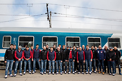 Group photo prior to the departure to Budapest of Slovenian Ice Hockey National Team, on April 17, 2017 in Railway station, Ljubljana, Slovenia. Photo by Vid Ponikvar / Sportida