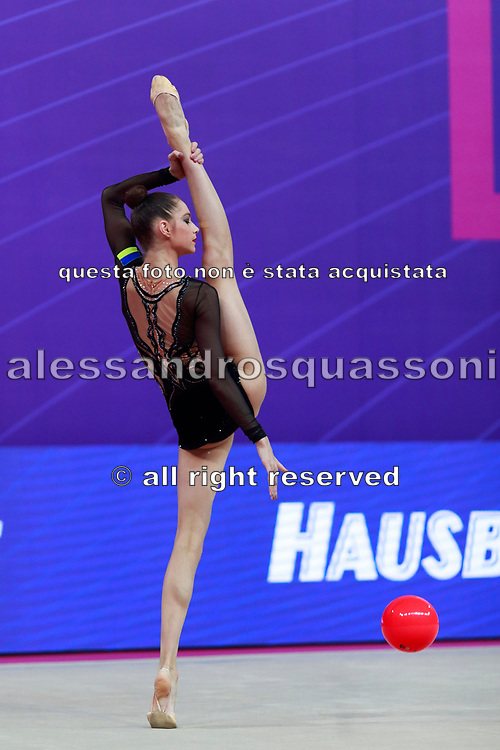 Nikolchenko Vlada during final at ball in Pesaro World Cup April 15, 2018. Vlada is a gymnast from Ukraine born in Kharkiv, 2002 .Her goal is compete at the 2020 Olympic Games in Tokyo.