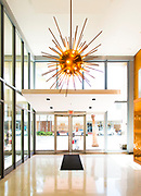 Sputnik-like, Space Age chandelier in the lobby of Miami Beach's 1688 Meridian Avenue, designed in 1961 by Miami Modern master architect Morris Lapidus.