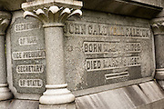 The tombstone of former Vice President and statesman John C. Calhoun in the Saint Philips Episcopal Church Cemetery along Church Street in historic Charleston, SC.