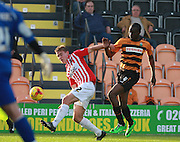 Exeter City midfielder David Wheeler and Barnet defender Bira Dembele compete for the ball during the Sky Bet League 2 match between Barnet and Exeter City at The Hive Stadium, London, England on 31 October 2015. Photo by Bennett Dean.