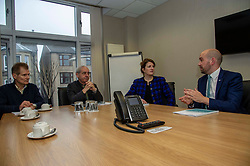 Pictured: Cyrille Mathis, Chief Scientific Officer Think Tank Maths ltd, Professor David Bell (University of Stirling), Angela Mathis, Chief Executive Think Tank Maths ltd and Ben MacphersonMigration Minister Ben Macpherson visited Think Tank Maths Ltd in Edinburgh today on the day a report on migration by an expert panel was published.  The Expert Advisory Group on Migration and Population, chaired by Professor Christina Boswell of the University of Edinburgh, was asked to give independent expert advice to the Scottish Government on migration, population growth and demographic change.<br />