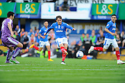 Portsmouth's Marc McNulty scores the opening goal to give the home team a 1-0 lead during the Sky Bet League 2 play-off first leg match between Portsmouth and Plymouth Argyle at Fratton Park, Portsmouth, England on 12 May 2016. Photo by Graham Hunt.