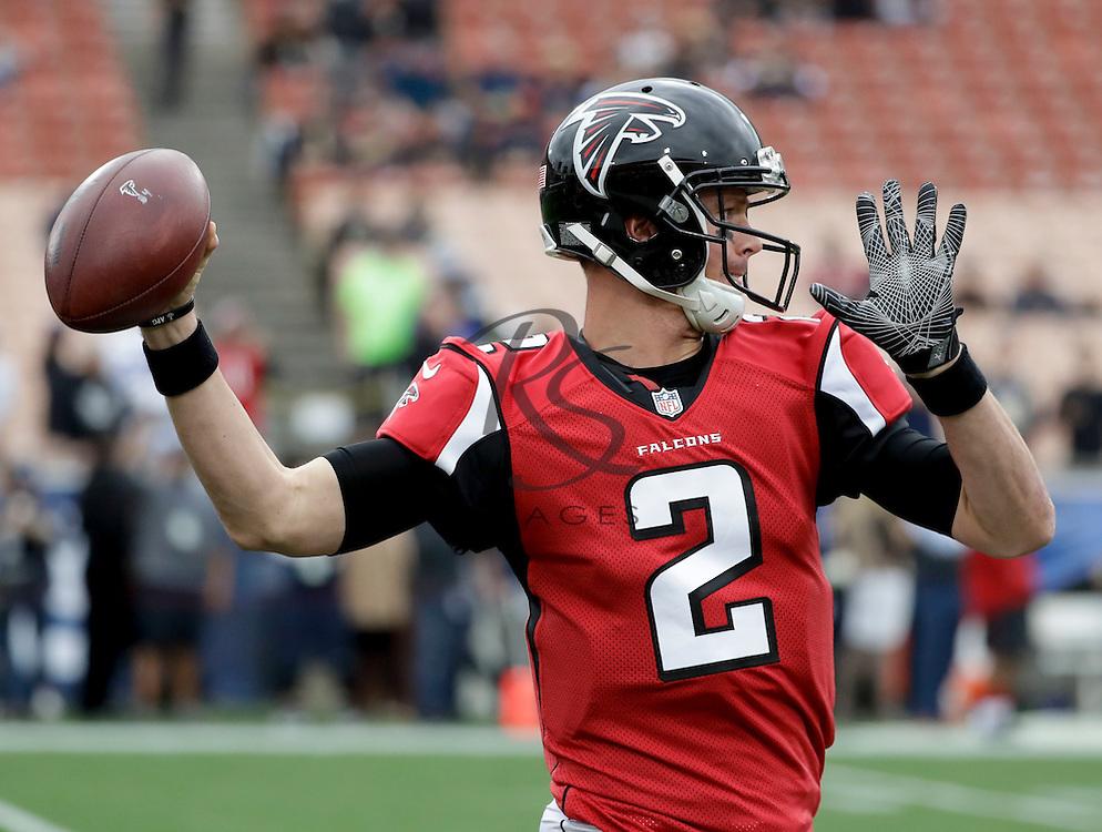 Atlanta Falcons quarterback Matt Ryan warms up before an NFL football game against the Los Angeles Rams Sunday, Dec. 11, 2016, in Los Angeles. (AP Photo/Rick Scuteri)