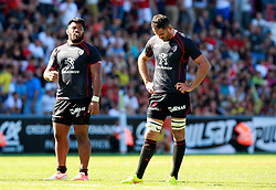 A dejected Gregory Lamboley and Christopher Tolofua react after the game.  Stade Toulousain v ASM Clermont Auvergne, Stade Ernest Wallon, Samedi 13 September 2014. Top 14 5eme Journee.